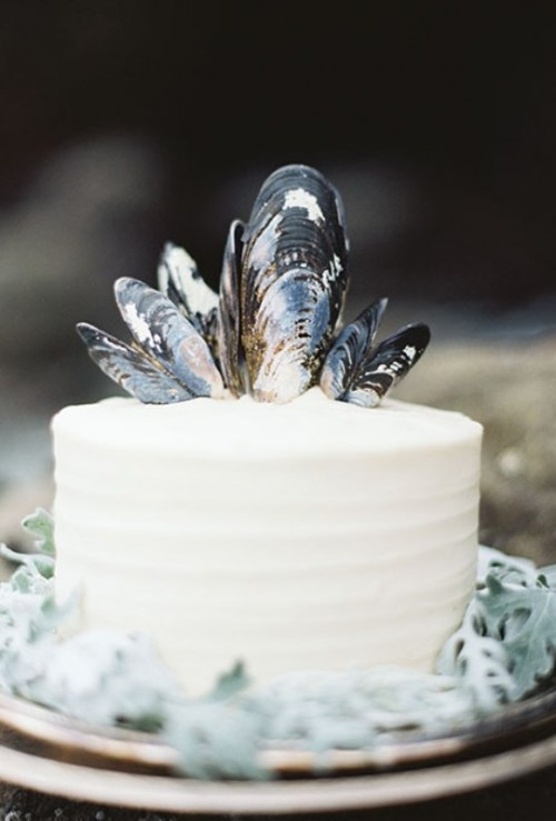 a textural buttercream single layer wedding cake topped with mussel shells is ideal for a seaside wedding