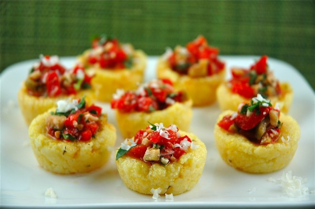 tasty cups filled with vegetable salad and greenery are amazing as appetizers