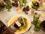 a stylish woodland wedding tablescape