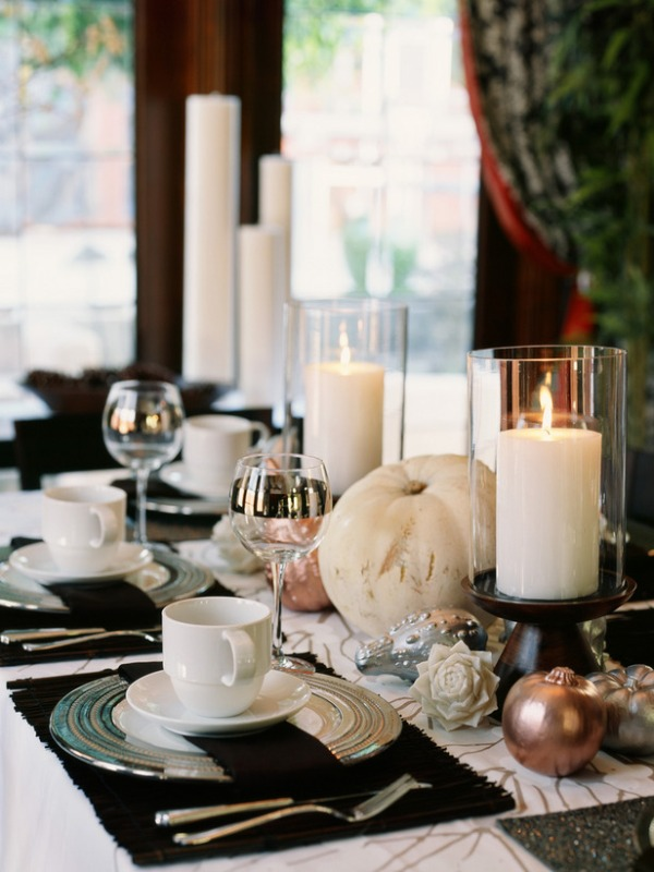 a stylish black and white wedding tablescape