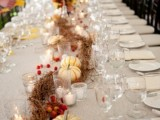 a fall tablescape with pumpkins