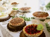 a wedding home pie bar with pies with various fillings, from meat to berries is a cool idea for every wedding