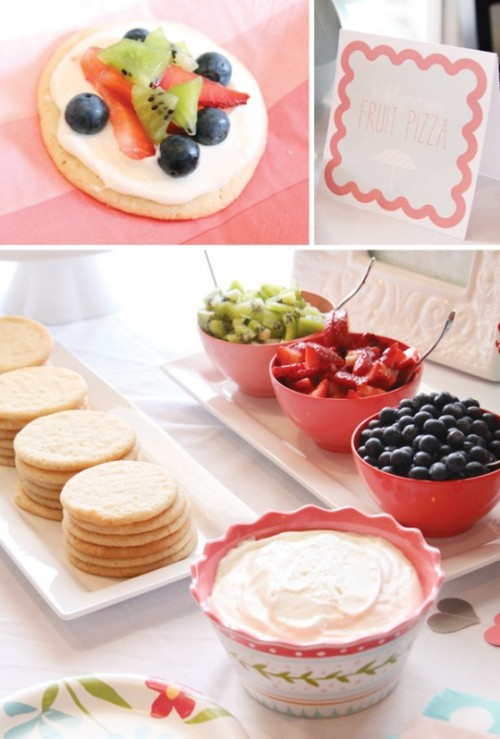 a wedding fruit pizza bar - make your own pizzas with fresh berries and fruits, it's a very healthy idea