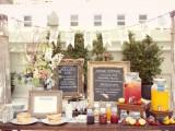 a pancake food bar, berries, fruits and fresh lemonade is a cool brunch wedding idea