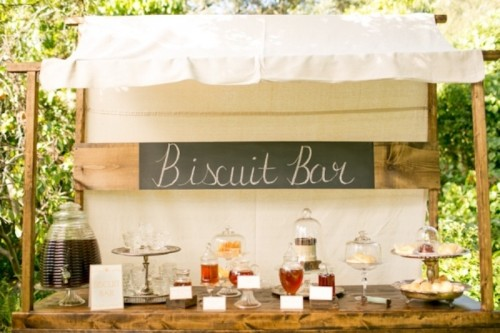 a wedding biscuit bar with various homemade biscuits and various types of drinks and lemonade in the same place