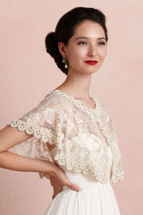 a beaded lace capelet on a button is a chic idea to add vintage elegance to your bridal look