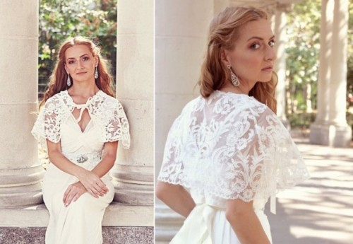 a cropped lace cape is a trendy idea with a touch of romance