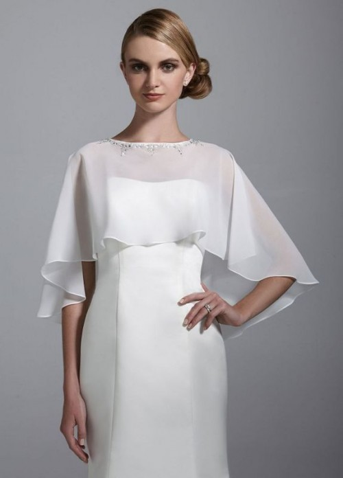 a plain white sheer capelet with an embellished neckline for a modern or minimalist bridal look