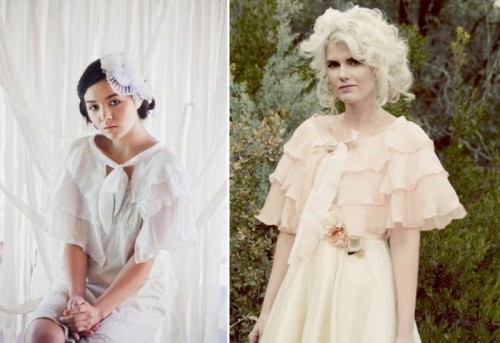 neutral ruffled coverups with bows will bring a strong vintage feel and elegance to your look