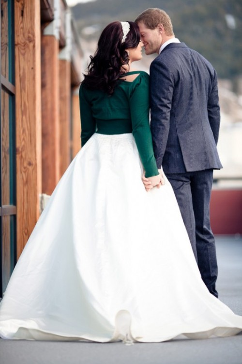 a dark green cropped cardigan is a cool and budget-friendly way to cover up at the wedding and add a touch of color