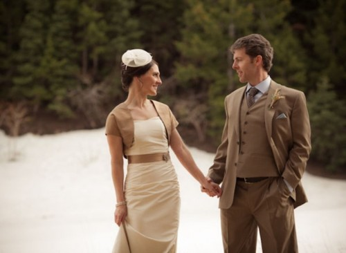 a mini camel bolero will highlight your vintage bridal style and add chic to it