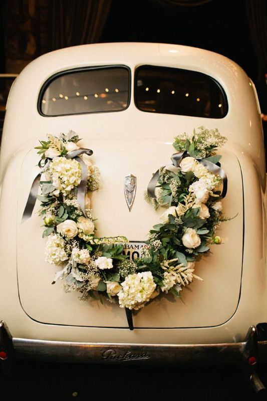 Picture of cool and creative wedding getaway car decor ideas for Cool picture hanging ideas