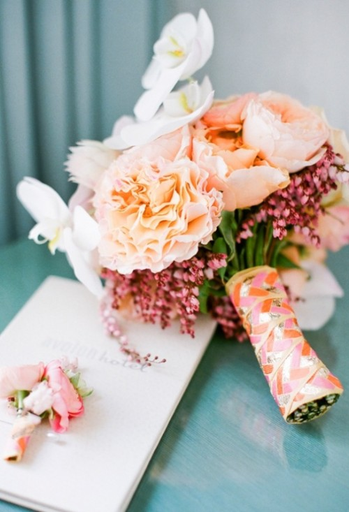 a colorful ribbon bouquet wrap is a bold and fun idea for a spring or summer wedding