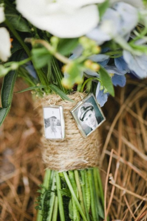 a twine wedding bouquet wrap with photos of those who have passed away is a hint to them