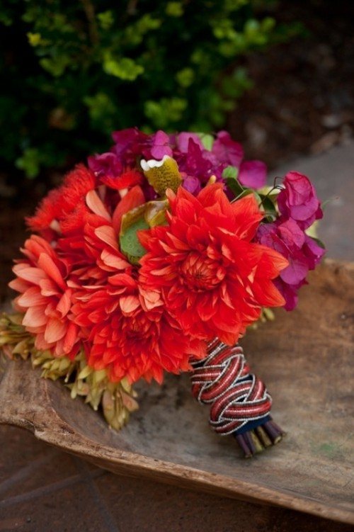 a colorful stripe bouquet wrap is great for a fun and whimsy summer wedding or just a colorful one