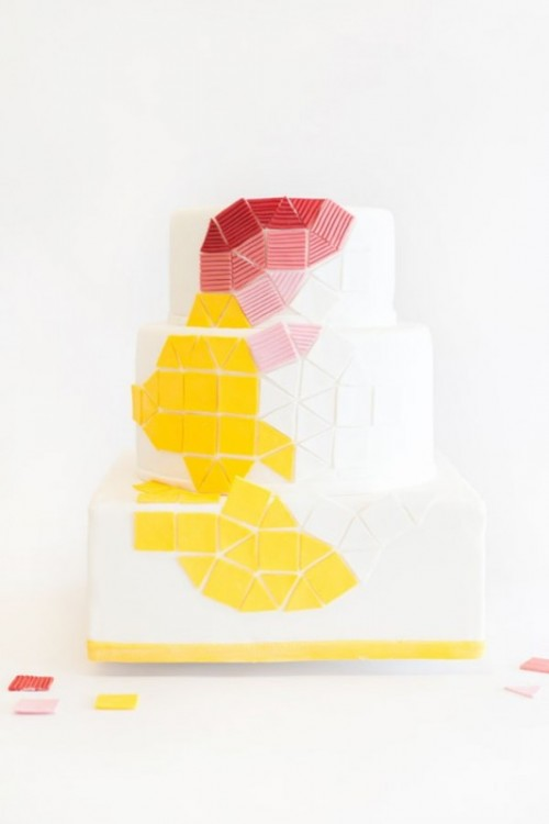 a white square wedding cake with bold color block geometric detailing is a statement idea for a modern colorful wedding
