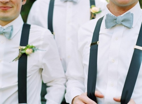 navy suspenders and blue bow ties - just add coral boutonnieres and you'll enjoy the result
