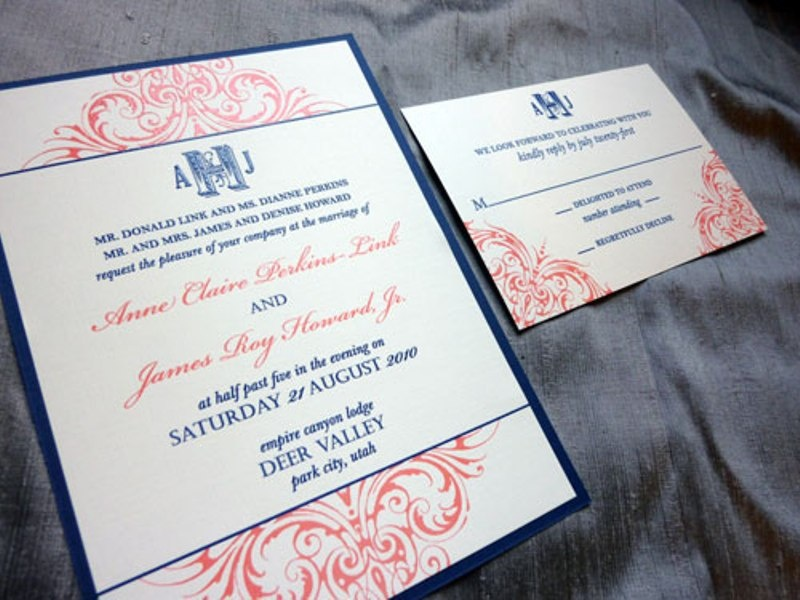 beautiful navy and blush wedding invitation suite with amazing prints and patterns
