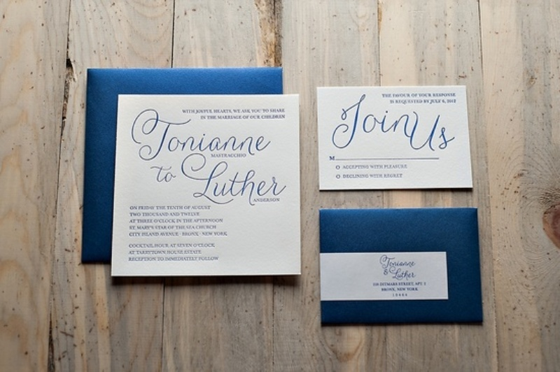 navy and white wedidng invitaiton suite   just add coral touches and go