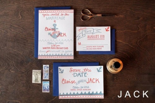 colorful nautical navyand coral wedding invitaiton suite with anchors and other prints