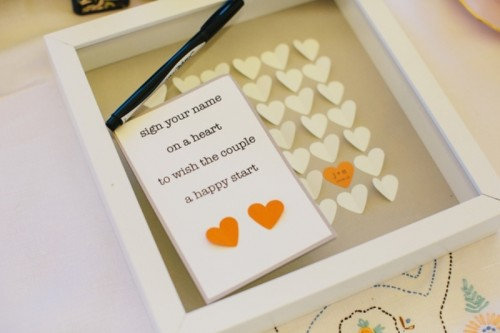 a frame with hearts to leave wiches and monograms and names - insert these hearts into the frame