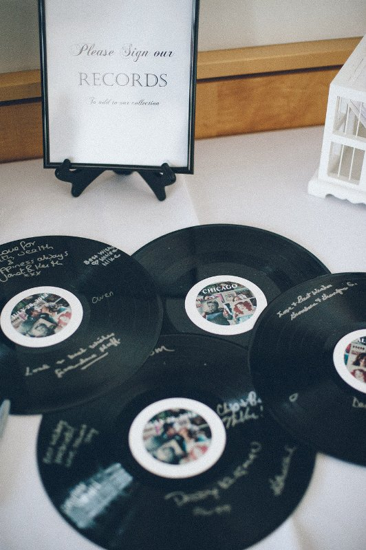 let your guests sign up your vinyl records and your collection will be a real guest book with lots of wishes