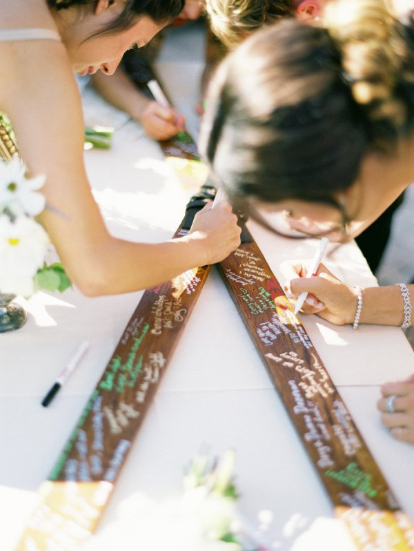 signing up skis is a proper idea for a winter or mountain wedding, or if you love winter sports