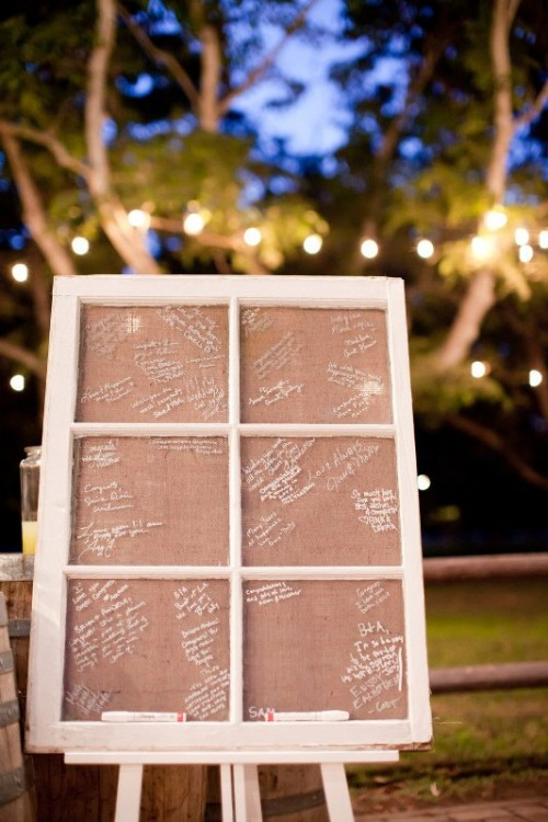 a vintage window frame with burlap to write on is a very cool idea for a rustic wedding