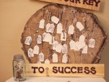 a rough wooden slice with tags with vintage keys – sign up each tag and add fun signs over the slice