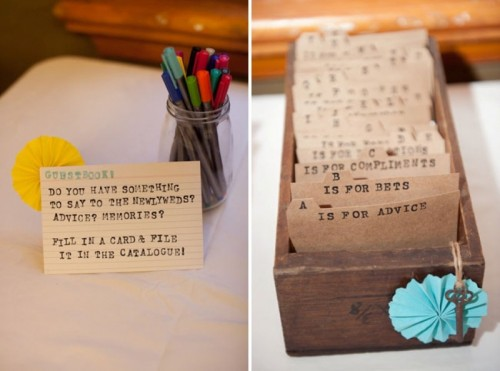 a card box with vintage cards is a rustic guest book idea that are to be signed by the guests for a vintage wedding