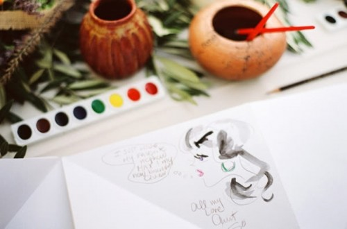 let your guests watercolro their wishes for you, and you'll get a very artful wedding guest book