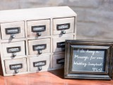 a box for messages and memories can be filled with papers with wishes, which is perfect for a vintage wedding