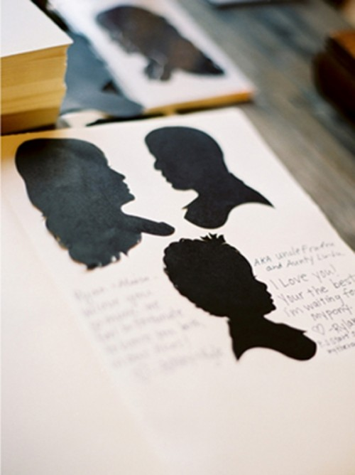 a book with your silhouettes on each page can be signed by your guests and left as a memory