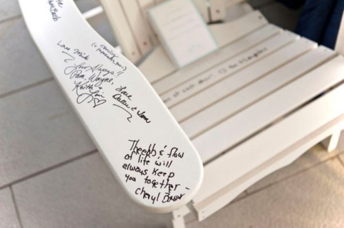 a garden chair can be signed by everyone who comes and you may palce it in your outdoor space later and read everything while sitting