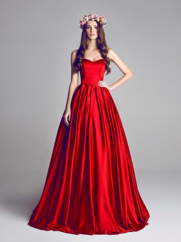 a bold red wedding ballgown will make a fantastic statement with the color, especially in the fall or winter
