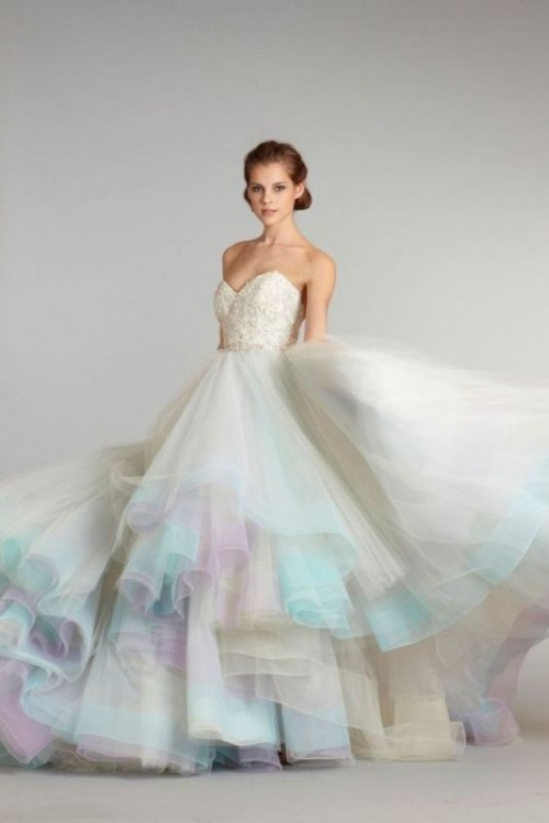 a strapless wedding ballgown with an embellished bodice, a pastel skirt that wows with a play of colors
