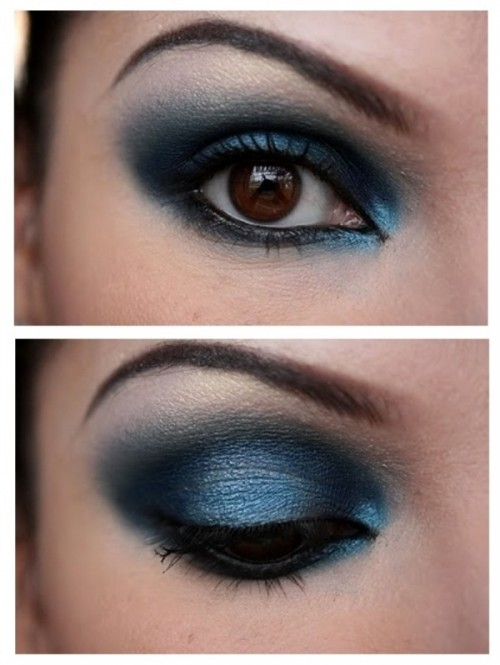 midnight blue and silver smokey eyes are a great ouch of color, if they fit your complexion