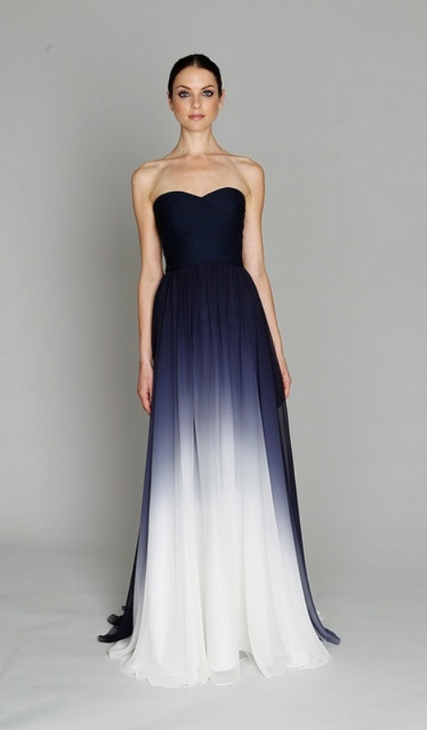 a creative strapless midnight ombre wedding or bridesmaid dress for a bold and statement look
