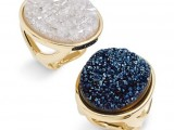 chic druzy rings in midnight blue and neutrals can be given to bridesmaids as gifts