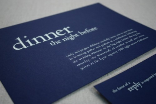 a chic invitation suite in midnight blue and white is ideal for many wedding themes and styles