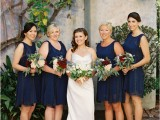 short sleeveless bridesmaid dresses with illusion necklines look chic and very pretty