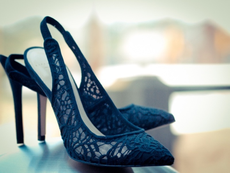chic lace midnight blue wedding heels will add a contrasting touch to your bridal look