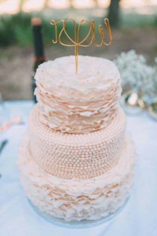 Blush Pink Square Wedding Cakes