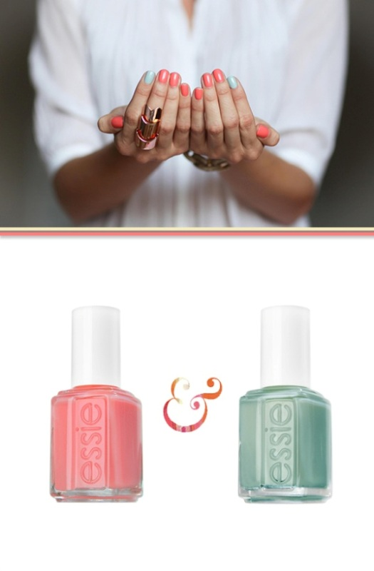a coral manicure with mint accent nails is a cool and bright idea to rock anytime