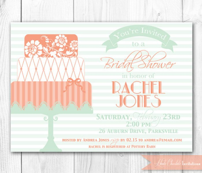 a fun coral, mint and creamy wedding invitation with bold letters for a colorful spring or summer wedding