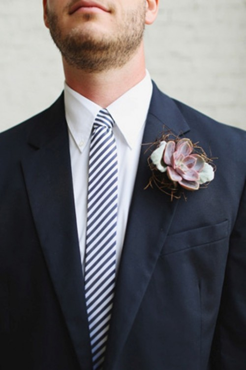 a succulent boutonniere with a bit of hay is a lovely idea for a relaxed rustic wedding and can be used in any season