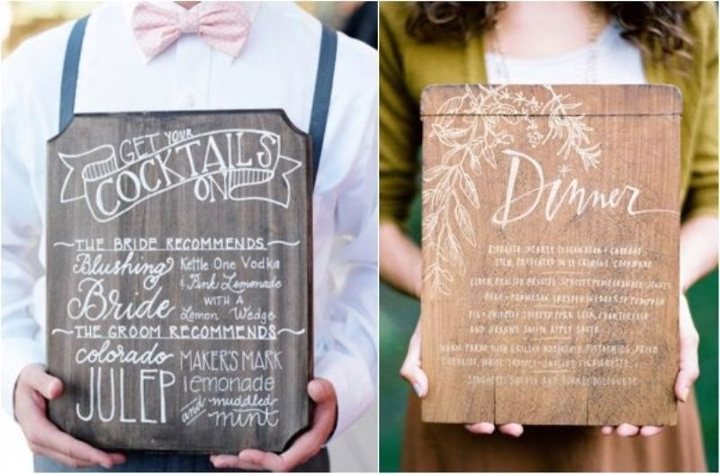 stylish usual and cocktail menus done on the wood with calligraphy will fit a rustic wedding