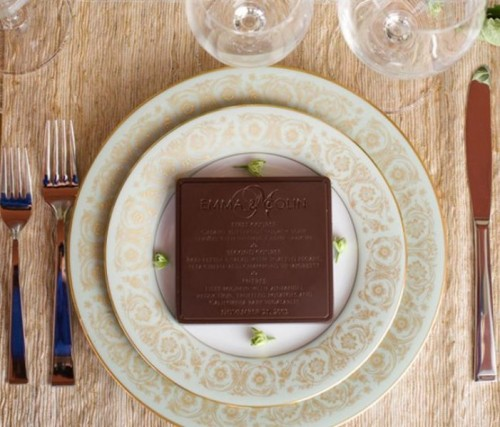 an edible chocolate menu is a delicious idea for a sweet wedding or a chocolate-loving couple