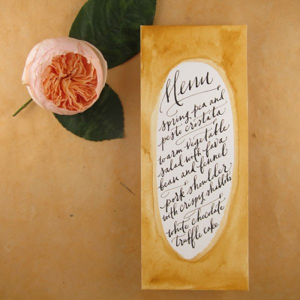 a creative watercolor menu with chic calligraphy is a stylish and chic idea for an art loving wedding