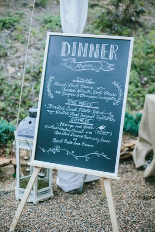 a chalkboard wedding menu is a cool and easy idea suitable for many modern weddings